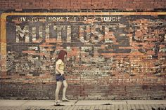 Walking Through Time by Carla Dyck - http://www.etsy.com/listing/79842328/photo-of-girl-and-faded-billboard-on