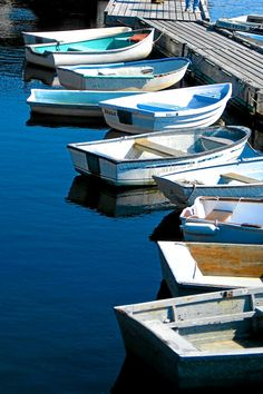 Perkins Cove Maine, Row of boats at a pier,  Fine Art 8 X 12 Print