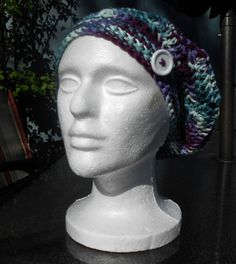 now available in teal/purple/white multicolor with a white button - HalesBee Handmade $11.99