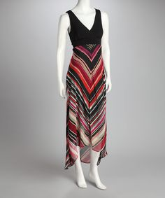 Take a look at this Rust & White Stripe Hi-Low Maxi Dress on zulily today!