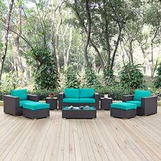 Convene Espresso Turquoise Fabric Rattan 8pc Outdoor Patio Sofa Set White Patio Furniture, Modern Outdoor Furniture, Garden Furniture, Outdoor Sofa Sets, Outdoor Living, Outdoor Decor, Outdoor Sectional, Patio Side Table, Patio Loveseat