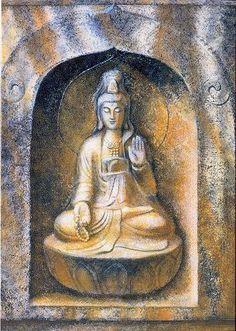 Kuan Yin Buddha spiritual art Goddess Zen by HalstenbergStudio