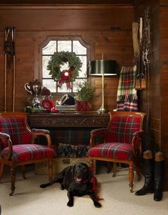 Equestrian Decor, Plaid, Black Boots, Barn Home Decor, Wood Paneled room with plaid chairs -- Christmas decorating -- The Polohouse -- photo by Werner Straube for Midwest Living Tartan Christmas, Magical Christmas, Country Christmas, All Things Christmas, Christmas Home, English Christmas, Preppy Christmas, Christmas Dance, Merry Christmas