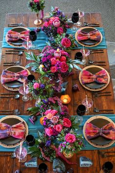 Wedding Ideas Bold colors farm tables and black china make for a fabulous tablescape Photo Lifelong Photography Venue Isla Del Sol Yacht Country Club Fiesta Party Decorations, Wedding Decorations, Table Decorations, Colorful Wedding Centerpieces, Wedding Flower Arrangements, Decoration Evenementielle, Deco Champetre, Mexican Fiesta Party, Beautiful Table Settings