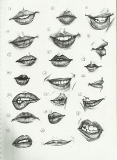 Different kinds of woman's lips to draw