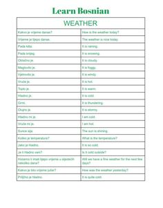 Learn all about the weather in Bosnian All Languages, European Languages, Serbian Language, Language Lessons, Learn A New Language, Colouring Pages, My Passion, Weather, Learning