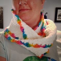 "I called this scarf, ""The Unicorn Fart"" 😂 puffy soft white cloud of scarf, lined with a rainbow. Cloud, Unicorn, Crochet Necklace, Rainbow, Fashion, Rain Bow, Moda, Rainbows, Fashion Styles"