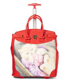 Red Kitten Yarn Rollies Foldable Rolling Tote Bag #zulily #zulilyfinds
