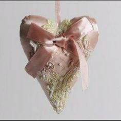 Dusky pink satin, lace and beaded lavender sachet wedding hanging heart. Www.Vintagedreamwedding.Com