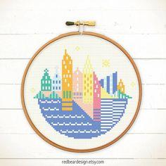 Modern Cross stitch Little Geometrich City by redbeardesign