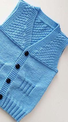 Şişle Kolay Erkek Bebek Yeleği Yapımı Sweater Knitting Patterns, Knitting Stitches, Moda Emo, Denim Tote Bags, Baby Vest, Crochet Baby, Sweaters, How To Wear, Clothes