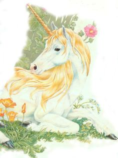 Resting in Flowers - Penny Parker Unicorn Club, Unicorn Art, Animals With Horns, Penny Parker, Mythological Animals, Elf Warrior, Unicorns And Mermaids, Watercolor Ideas, Animal Paintings