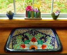 Mexican ceramic sink in Romantic tiny forest home built in 6 weeks. in a tiny rustic home in the woods. Decoration Shabby, Mexican Ceramics, Mexican Kitchens, Mexican Kitchen Decor, Talavera Pottery, Sink Design, Ceramic Sink, Forest House, Decor Styles