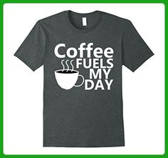 Mens Coffee Fuels My Day T-Shirt Cool Graphic Printed Tee Shirts Medium Dark Heather - Food and drink shirts (*Amazon Partner-Link)