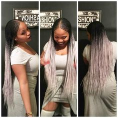 "[gallery ids=""12990,13065″ type=""rectangular""] Center Part Ghana Braids Installed With Silver grey Ombre."