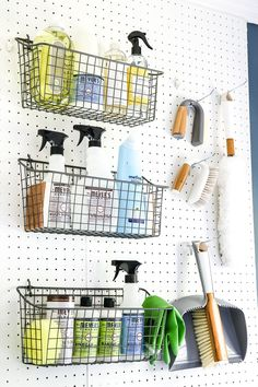 Make everything more accessible in your laundry room by having wire baskets hooked up to a pegboard. This will allow you to see what you have and where they are so it's easier to tell which ones need replenishing as well. Laundry Closet, Small Laundry Rooms, Laundry Room Organization, Laundry Room Design, Diy Organization, Organizing Solutions, Laundry Rack, Laundry Solutions, Laundry Cabinets