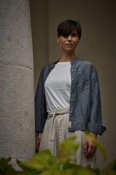 Scarti Lab Linen Blend Blouse W509-SB307 Chambray Chambray Fabric, Lab, Blouse, Fitness, How To Make, Cotton, Women, Fashion, Moda