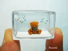 Micro Mohair Bear 0.4 Inch  Tiny Crochet Miniature Teddy by SuAmi, $180.00