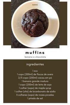 muffins de banana e cacau