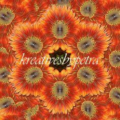 Mandala Kaleidoskop ''Sonnenblume rot''  Kreatives by Petra #mandala 'kaleidoskop #spiegelung #reflektion #reflection #innereruhe #inspiration #sonnenblume #sunflower #rot #red #orange #blumen #flowers #blüten #blossom #frühling #spring #sommer #summer #garten #garden Petra, Inspiration, Mandalas, Sunflowers, Mosaics, Canvas, Red, Orange Flowers, Summer