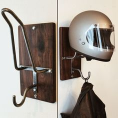 This sissy bar-inspired motorcycle helmet rack/hook is hand bent and welded from half-inch steel and mounted on a one inch thick piece of waxed walnut measuring 13 by 7 1/4 inches.  It easily mounts to any wall (make sure to mount into a stud for strength) with the included mounting hardware and can hold any motorcycle helmet.  Send me a message for international shipping enquiries.
