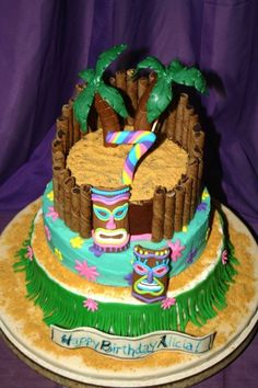 Luau Cake It's been pretty cold here in Alaska lately. So we celebrated my daughter's birthday with a Luau. Luau Cakes, Beach Cakes, Party Cakes, Hawaiian Birthday Cakes, Hawaiian Luau Party, Zebra Birthday, 8th Birthday, Happy Birthday, Themed Wedding Cakes