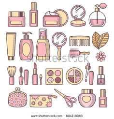 Colorful cosmetics and makeup icon set in line art style. Vector illustration.