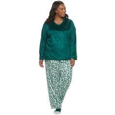 Women's Plus Croft & Barrow® 3 Piece Minky Fleece Pajama Set with Sock