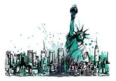 creditcard illustration New York New York Drawing, City Drawing, New York Tattoo, Skyline Painting, Skyline Art, Manhattan Skyline, New York Skyline, Statue Of Liberty Drawing, New York Illustration