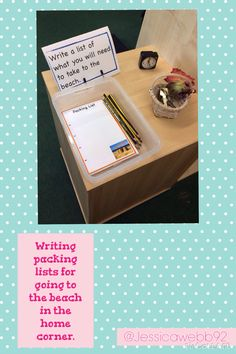 Writing packing lists for going to the beach in the home corner. Writing Corner, Writing Area, Writing Lists, Eyfs Activities, Writing Activities, Play Based Learning, Home Learning, Kindergarten Writing, Literacy