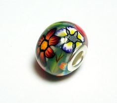 Large Hole Bead Handmade from Polymer Clay - Flower Garden Pattern by BarbiesBest on Etsy