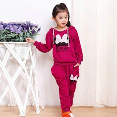 2017 2 PCS Kids Girls Spring Autumn Sport Casual Warm Hooded Clothes Pullover Coat + Pants Outfits Long Sleeve Suit kids clothes #Affiliate