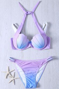 $16.15 Alluring Halter Gradient Color Bikini Swimwear