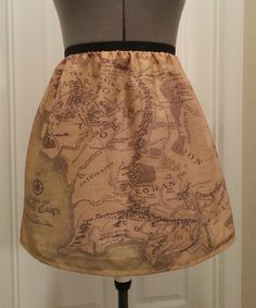 Lord of the Rings inspired skirt - map of Middle Earth - made to order. $45.00, via Etsy.