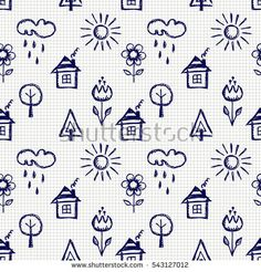 Seamless vector pattern with cute childish hand drawn house, sun, cloud, rain, flowers, tree. Blue endless doodle background with line drawing sketch elements. Graphic repeat illustration.