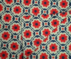 Vintage Fabric MOD 1960s Fun DAISY Floral Fabric by rabbitsfabrics, $13.00