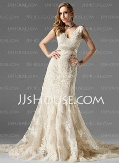 Wedding Dresses - $312.99 - A-Line/Princess V-neck Chapel Train Organza Satin Wedding Dress With Lace Beadwork (002000249) http://jjshouse.com/A-Line-Princess-V-Neck-Chapel-Train-Organza-Satin-Wedding-Dress-With-Lace-Beadwork-002000249-g249