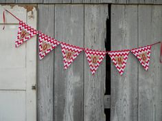HOHOHO in Red and White and Black and White Chevron Fabric and Painted Burlap Christmas Banner Bunting Party Decor Photo Prop