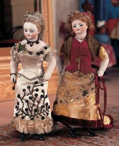 View Catalog Item - Theriault's Antique Doll Auctions - rare german bisque miniature lady dolls, 8""