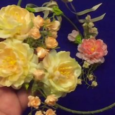 How to make a stunning flower crown😍 By: Fabric Flowers Diy Lace Ribbon Flowers, Ribbon Flower Tutorial, Ribbon Embroidery Tutorial, Hand Embroidery Flowers, Paper Flowers Craft, Kanzashi Flowers, Satin Flowers, Flower Crafts, Embroidery Applique