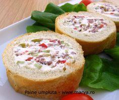 bagheta umpluta Salmon Burgers, Delish, Muffin, Appetizers, Vegetarian, Breakfast, Cake, Ethnic Recipes, Spreads