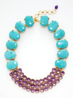Bounkit turquoise and amethyst necklace