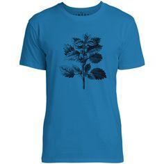 Mintage Wild Nettle Illustration Mens Fine Jersey T-Shirt (Cobalt)