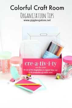 Colorful Craft Room Organization tips!