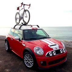 Mini Cooper S with mountain bike rack. I really like the rally lights too.