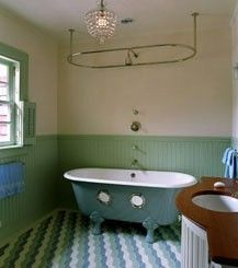 Portholes In A Clawfoot Tub Shower Curtain Rods Curtains Painted Wainscoting Dream