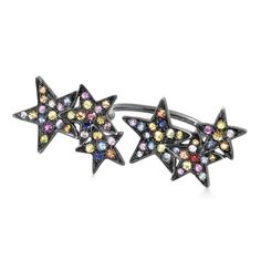 SHEBEE - Rainbow Star Ring - A multitude of colored sapphires lights up this star-themed open ring set in black rhodium wash sterling. It's where folk art aesthetics flash with contemporary verve. It comes on a choice of sterling or gold band. You're lucky cause this one also comes in ombre sapphires.