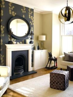 38 Ideas For Living Room Wallpaper Fireplace Mantles Fireplace Feature Wall, Simple Fireplace, Living Room With Fireplace, New Living Room, Living Room Decor, Fireplace Ideas, Feature Walls, Fireplace Mantels, Modern Fireplaces
