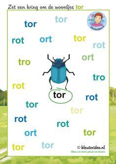 Zet een kring om de woordjes tor, thema insecten en kriebelbeestjes voor kleuters, kleuteridee, free printable.