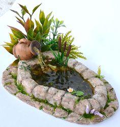 Dollhouse Miniature Garden,  Pond, Dollhouse Garden Pond. Fairy Garden Koi Pond with Flowers, Miniature Garden Pond. by RealisticMiniature on Etsy https://www.etsy.com/listing/264527795/dollhouse-miniature-garden-pond